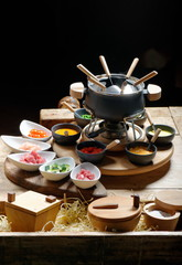 table for a party served with a fondue
