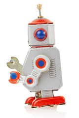 Robot vintage toy side on white, clipping path