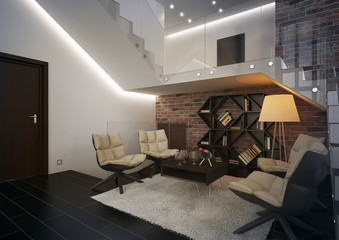 Modern apartment with living room.