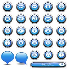 Set of blue buttons