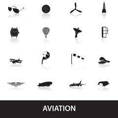 aviation icons set eps10