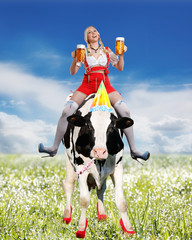 crazy tiroler or oktoberfest woman with beer