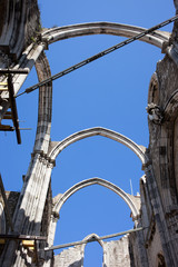Gothic Arches in Ruins of Carmo Convent in Lisbon