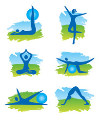 Fitness in the nature icons