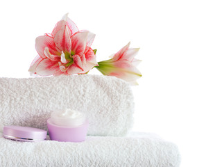 spa with pink flowers