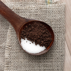 instant coffee and sugar in spoon