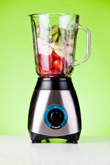 Strawberries And Bananas With Kiwifruit In A Mixer