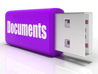 Documents Pen drive Shows Digital Information And Files