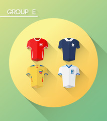 World cup group e vector with jerseys