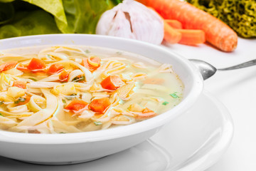 Broth - chicken soup with noodles