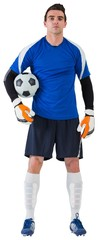 Handsome goalkeeper in blue jersey