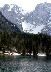 Alpine Lake with clear water and the mountains 4
