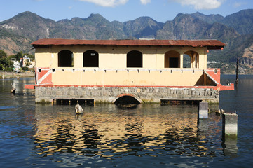 Flooded house at San Pedro on lake Atitlan