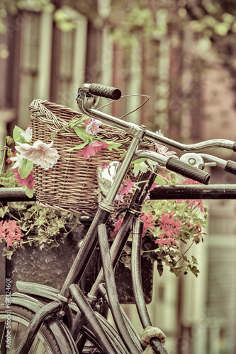 Retro styled image of Dutch bicycles in Amsterdam