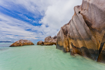 Beautiful seascape in Anse Source D'Argent. Seychelles. La digue