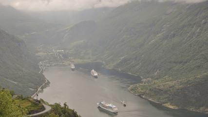 Geiranger, Dorf, Geirangerfjord, Schiffsreise, Sommer, Norwegen