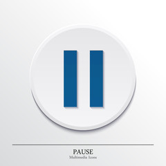 Multimedia icons on button, pause. Vector.