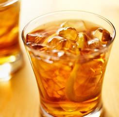 macro close up photo of a glass of iced tea