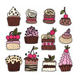 Set of hand drawn cakes, desserts