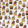 Seamless pattern of hand drawn cakes, desserts