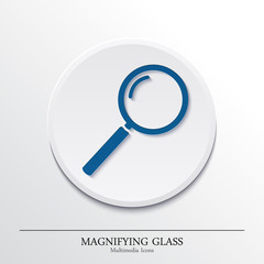 Multimedia icons on button, magnifying glass. Vector.