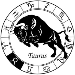 taurus zodiac sign black white