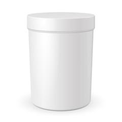 Tall Cosmetic Cream, Gel Or Powder, Light Gray, White