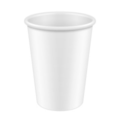 White Tall Disposable Paper Cup. Container For Coffee, Java