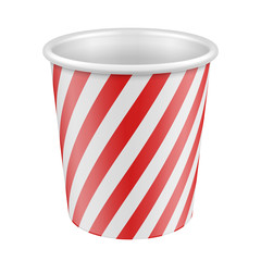 White Red Disposable Paper Cup. Container For Coffee, Java