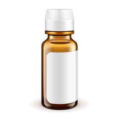 Medical Glass Brown Bottle With Label On White Background