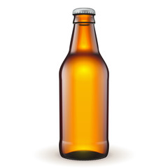 Short Glass Beer Brown Bottle On White Background