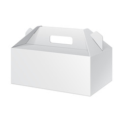 White Short Cardboard Carry Box Packaging For Food, Gift