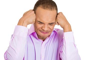 Headache. Young man having migraine attack, white background