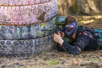 paint splash on the paintball player