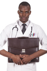 black doctor with briefcase in hand