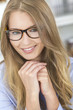Beautiful Blond Girl Woman Wearing Glasses