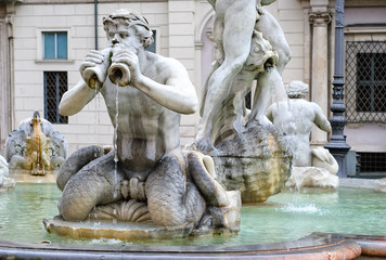 Detail of the Moor Fountain, Piazza Navona, Rome, Italy