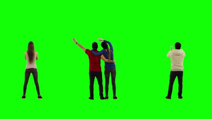 Football fans on green screen.