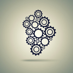Cogs (gears) on light background