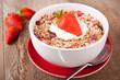 canvas print picture - Müsli mit frischen Erdbeeren