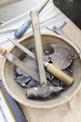 Stone carving tools, detail of some tools for working stone