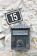 Mail box and house number