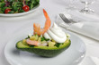 tender appetizer of avocado and shrimp