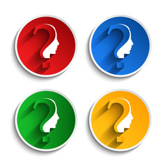 Vector set of questions mark with human head symbol on button.