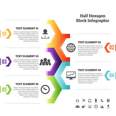 Half Hexagon Block Infographic Element