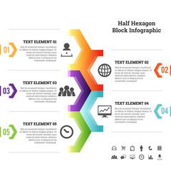 Half Hexagon Block Infographic Element
