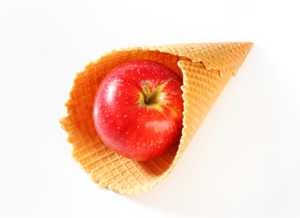 Red apple in waffle cornet