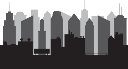 Big city Silhouette illustrated on white