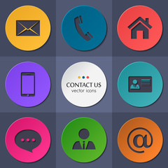 Vector contact and communication icons.