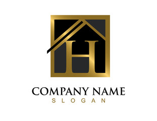 Gold letter H house logo
